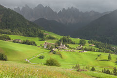 Small Italian mountain town in the Dolomites  St. Magdalena in Val di Funes Stock Images