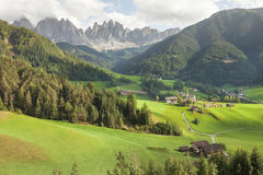 Small Italian mountain town in the Dolomites St. Magdalena in Val di Funes Royalty Free Stock Photo