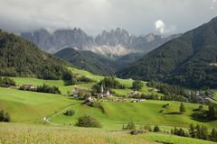 Small Italian mountain town in the Dolomites  St. Magdalena in Val di Funes Royalty Free Stock Photography