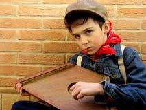 Small Italian musician. Small roman musician playing the arp stock photos