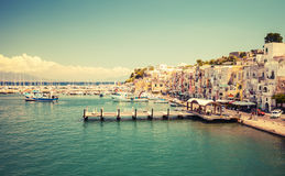 Small Italian town cityscape. Port of Procida Stock Photos