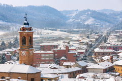 Small italian town covered with snow. Stock Photos