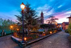 Small italian town on the dawn. Stock Photography
