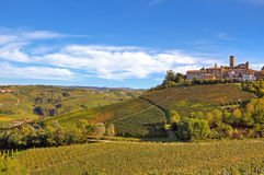 Small italian town on the hill with vineyards. Royalty Free Stock Images
