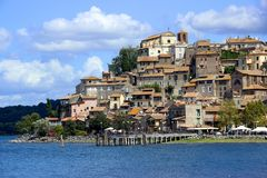 A small Italian town near the lake royalty free stock image
