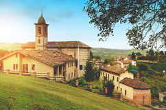 Small Italian village with church royalty free stock images