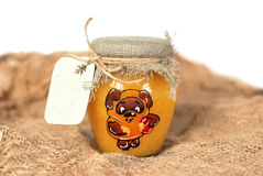 Small jar of honey. With a note card attached Royalty Free Stock Image