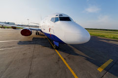 Small jetplane is on runway Stock Photo