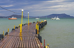 A small jetty in cloudy weather. Stock Photo