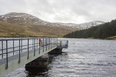 The small jetty and inspection platform at the Fofanny Water Treatment Works in the Western Mourne Mountians Royalty Free Stock Photography