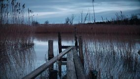Small jetty by lake. At dusk. Utvalinge, Sweden stock footage