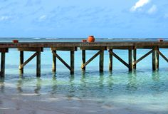 Small jetty on the maldives Stock Photo