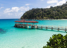 Small jetty near the tropical island in the marine park. Stock Photography