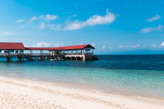 Small jetty on a tropical island in the marine park Royalty Free Stock Photo