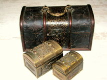 Small jewelry boxes. Jewelry boxes made out of wood and metal Stock Photography