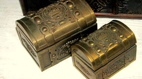 Small jewelry boxes. Jewelry boxes made out of wood and metal Royalty Free Stock Photos