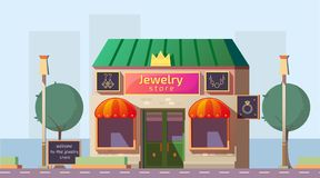 Free Small Jewelry Store Building Cartoon Vector Stock Images - 159832754