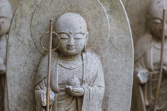 Small Jizo Statues at Hase-dera Temple in Kamakura Stock Photo