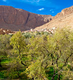 Small Kasbah in atlas mountains,morocco. Small Kasbah nestled in high atlas mountains of morocco Royalty Free Stock Images