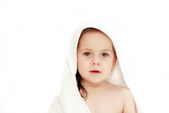 Small kid after bath isolated Royalty Free Stock Photo