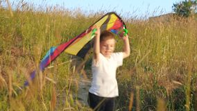 Small kid boy running along path outdoor and holds toy kite over his head. winning concepts. Small kid boy running along path outdoor and holds a toy kite over stock video