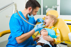 Small kid, patient visiting specialist in dental clinic Royalty Free Stock Image