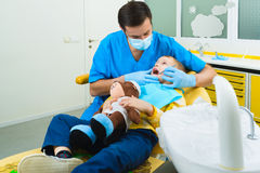 Small kid, patient visiting specialist in dental clinic Royalty Free Stock Photos