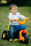 Small kid ride a bicycle Royalty Free Stock Photo