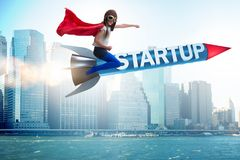 The small kid in start-up concept flying rocket Royalty Free Stock Image
