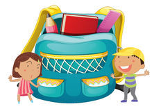 Small kids with a bag Royalty Free Stock Photos
