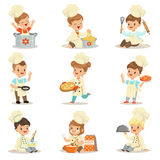 Small Kids In Chief Double-Brested Coat And Toque Hat Cooking Food And BAking Set OF Cute Cartoon Characters Preparing. Meal. Children Cooks And Their Dishes vector illustration