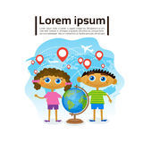 Small Kids Holding Globe Over World Map, Children Learning Geography Hobby. Flat Vector Illustration Royalty Free Stock Images