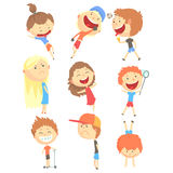 Small Kids Playing And Running, Having Fun On Summer Vacation Outdoors Set Of Cool Cartoon Characters. Happy Childhood Vector Illustration Collection With Royalty Free Stock Photos