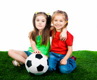 Small kids with soccer ball Royalty Free Stock Photos
