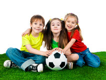 Small kids with soccer ball Stock Photos