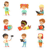 Small Kids Using Modern Gadgets And Reading Books, Childhood And Technology Series Of Cute Illustrations Stock Photography