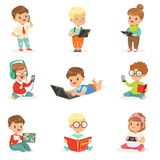 Small Kids Using Modern Gadgets And Reading Books, Childhood And Technology Set Of Cute Illustrations Royalty Free Stock Photos