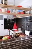 Small kitchen. Kitchenette with shelfs in small flat stock photo