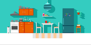 Small Kitchen. Interior flat design in vibrant colors Stock Photography