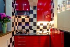 Small kitchen interior. Modern interior of small kitchen Royalty Free Stock Photos