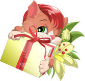 Small kitten. Kitten holding a box with a gift stock illustration