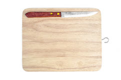 Small knife and chopping board isolated  white background Royalty Free Stock Photography