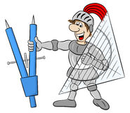 Small knight armed with dividers and triangle ruler Stock Photography
