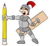 Small knight armed with pencil and ruler Stock Photography