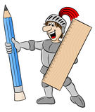 Small knight armed with pencil and ruler Stock Image