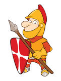 Illustration of a Cute Knight. Cartoon Character. The small knight in it is red a yellow armour Stock Photos