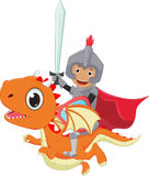 Small knight riding the dragon Stock Photo