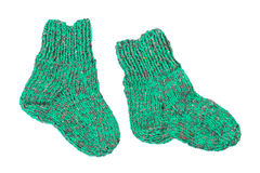 Small knitted socks for children Royalty Free Stock Photos