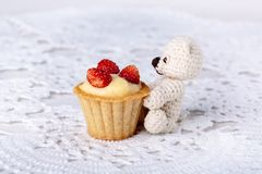 Small knitted teddy bear sitting near mini tartlet royalty free stock image