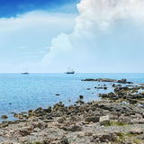 Small lagoon and sailboat Royalty Free Stock Images